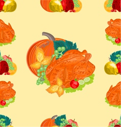 Seamless texture turkey and fruit with pumpkin vector