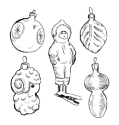 Set of vintage hand drawn balls and toys christmas vector