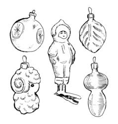 Set of vintage hand drawn balls and toys christmas vector