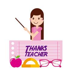 Thanks teacher girl character and apple glasses vector
