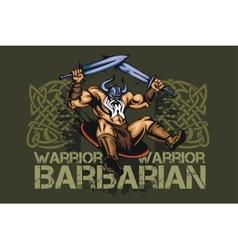 Viking norseman mascot cartoon with two swords vector