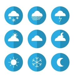 Weather icon set with clouds vector image vector image