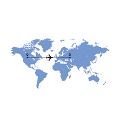 world map and plane vector image