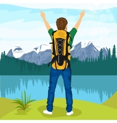 young male hiker enjoying mountain lake vector image