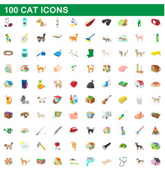 100 cat icons set cartoon style vector image vector image