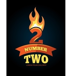 Icons set of flaming numbers vector