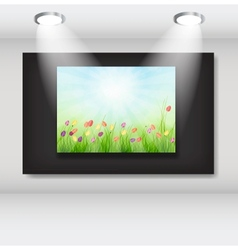 Frame with natural floral background in art vector