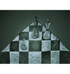Chess pieces on a chessboard vector
