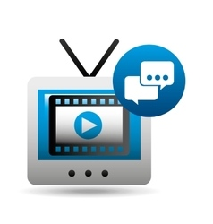 Video player bubble speak tv icons vector