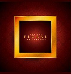 golden frame with floral decoration vector image