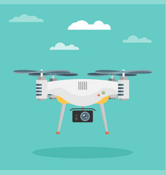 Remote aerial drone with a camera flat design vector