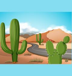 Scene with empty road in the desert ground vector