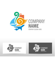 Travel logo design with boat and airplane vector