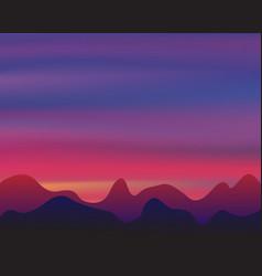 Silhouette mountain on sunset background twilight vector