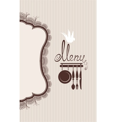 Restaurant menu design with lace table napkin and vector