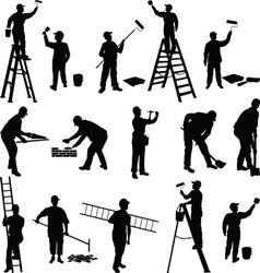 Group of workers silhouettes vector