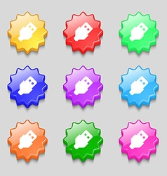 Usb icon sign symbol on nine wavy colourful vector