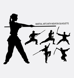 Wushu with weapon martial arts sport silhouette vector