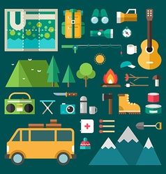 Tourist equipment and objects set of icons and in vector