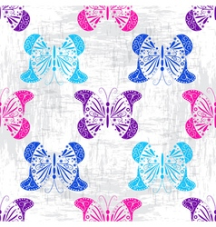 Grungy light pattern with colorful butterflies vector