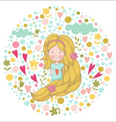 Cute cartoon smiling girl with very long hair on vector