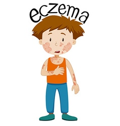 Sad boy with eczema vector