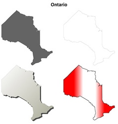 Ontario blank outline map set vector
