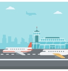 Background of airport with airplanes vector