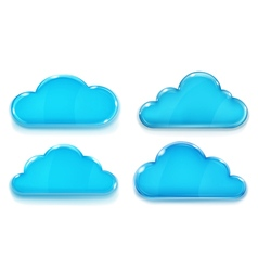 Set of opaque glass clouds vector