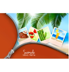 Background with summer photos and zipper vector