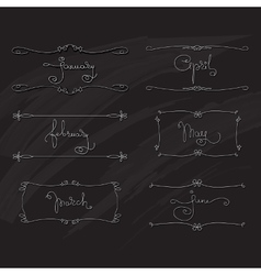 Handwritten words january february march april vector