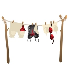 Womens underwear drying on rope outdoors vector