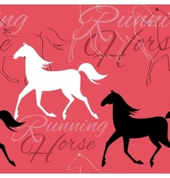 Seamless pattern with running horses and text vector