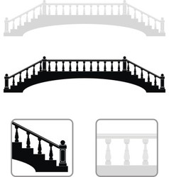 Ancient arch stone bridge silhouettes vector