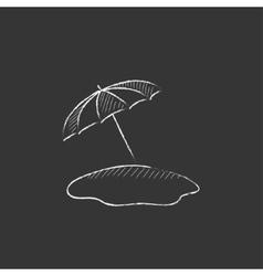 Beach umbrella drawn in chalk icon vector