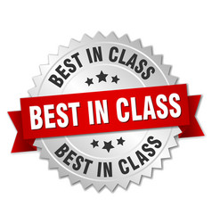 Best in class round isolated silver badge vector