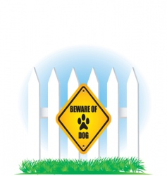 beware of dog yellow sign vector image vector image