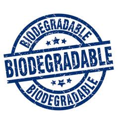 Biodegradable blue round grunge stamp vector