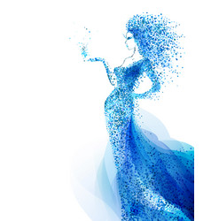 blue decorative composition with girl cyan vector image