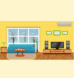 Bright living room interior with modern furniture vector