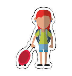 Cartoon girl tourist with backpack and suitcase vector