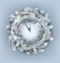 Christmas Wreath with Clock for Happy New Year vector image