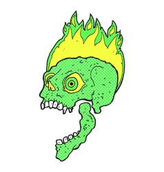 Comic cartoon scary skull vector