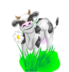 cow on a green lawn vector image vector image