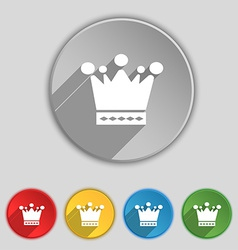 Crown icon sign symbol on five flat buttons vector