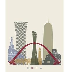 Doha skyline poster vector