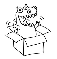 Dragon sitting in box vector