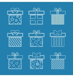 Gift boxes icons set in white blue vector image