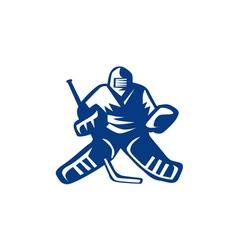 Ice hockey goalie retro vector
