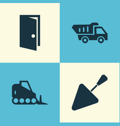 Industry icons set collection of entrance truck vector
